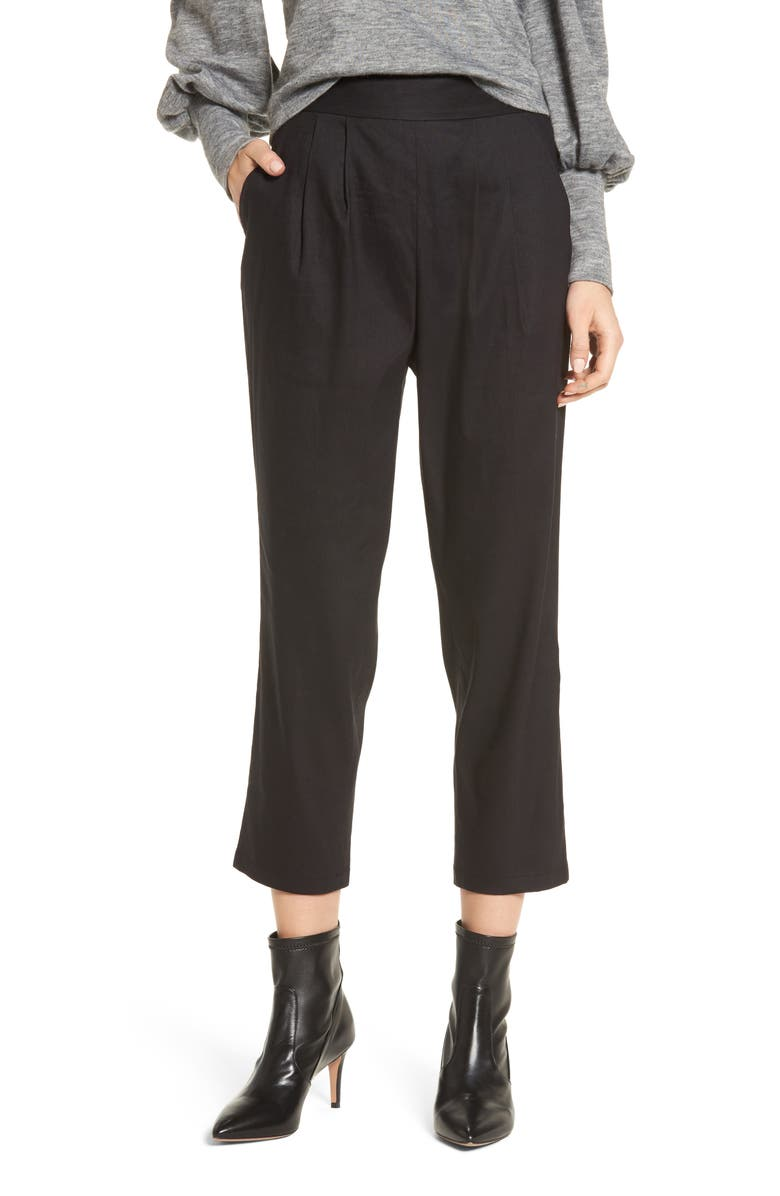 LEITH Pleat Front Crop Pants, Main, color, 001