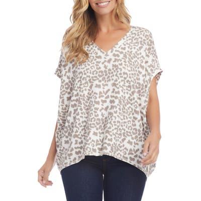 Karen Kane Leopard Print Short Sleeve Top, Ivory