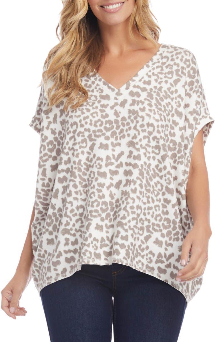 KAREN KANE Leopard Print Short Sleeve Top, Main, color, 900