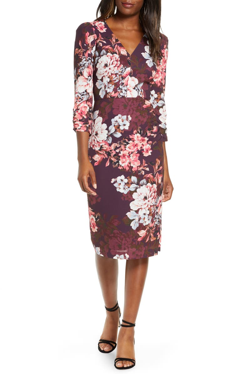 ELIZA J Floral Long Sleeve Sheath Dress, Main, color, PLUM