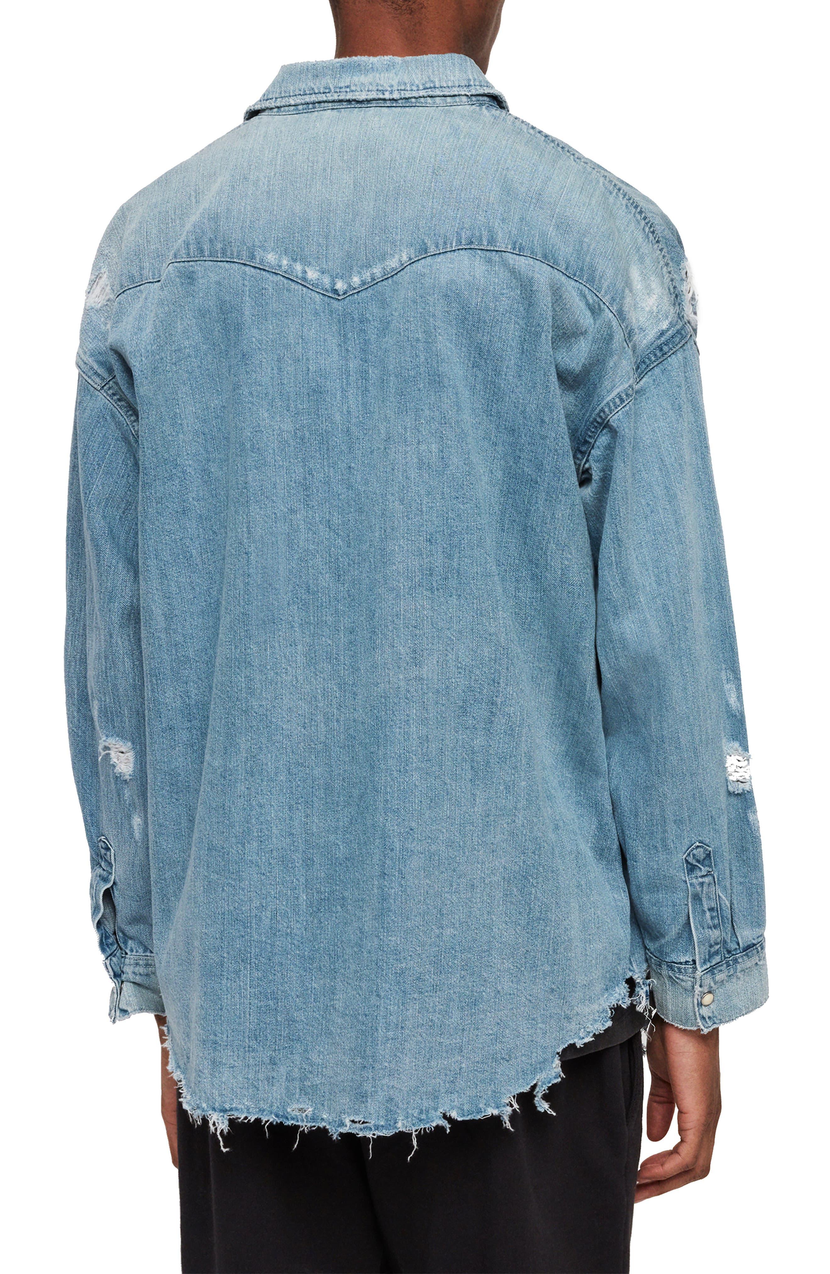 ,                             Intor Oversize Denim Shirt,                             Alternate thumbnail 3, color,                             INDIGO BLUE