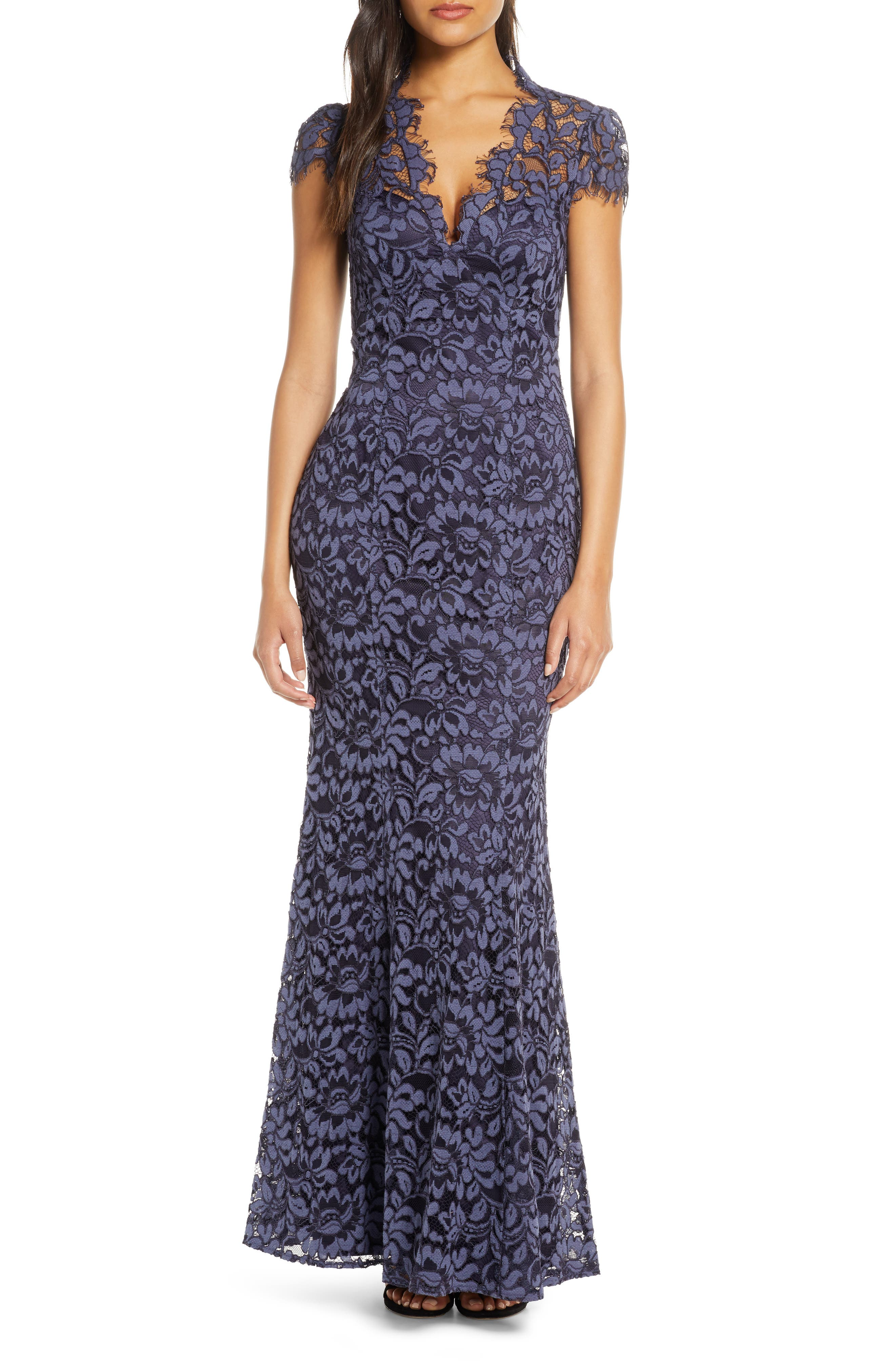 Image of Eliza J Embroidered Lace Trumpet Gown