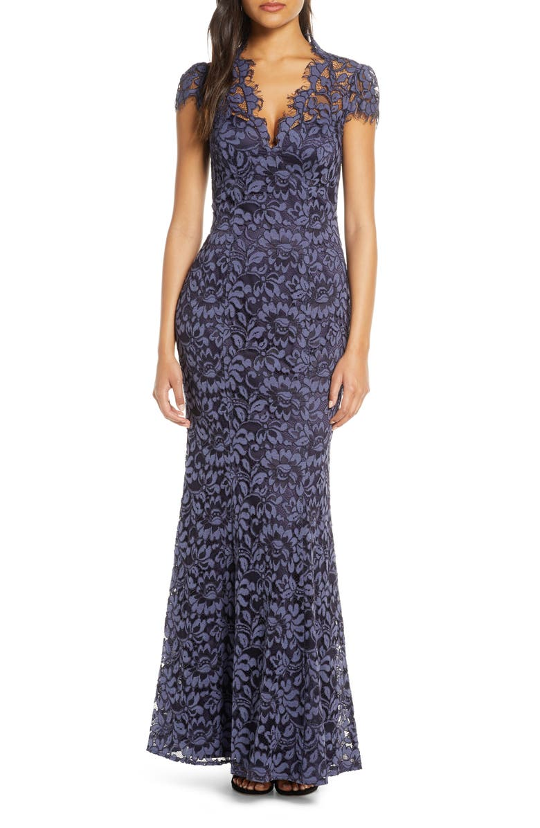 ELIZA J Embroidered Lace Trumpet Gown, Main, color, NAVY