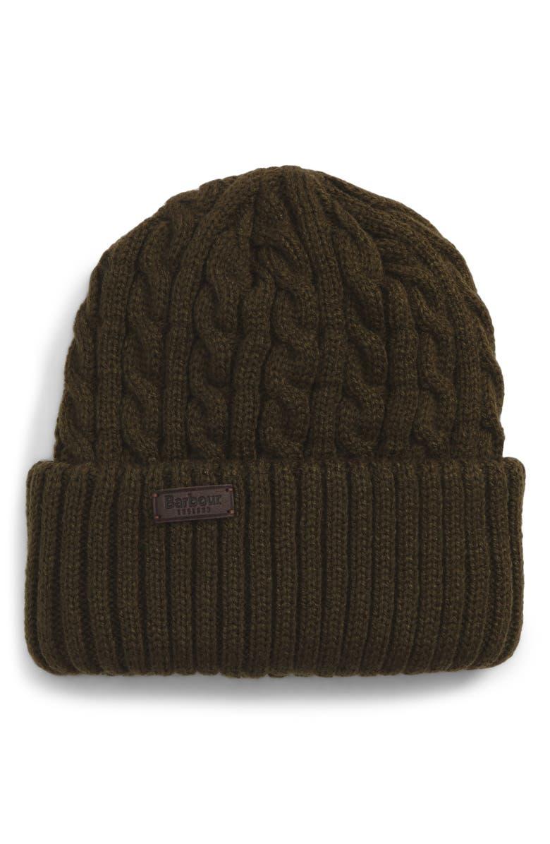 BARBOUR Balfron Cable Knit Beanie, Main, color, 340