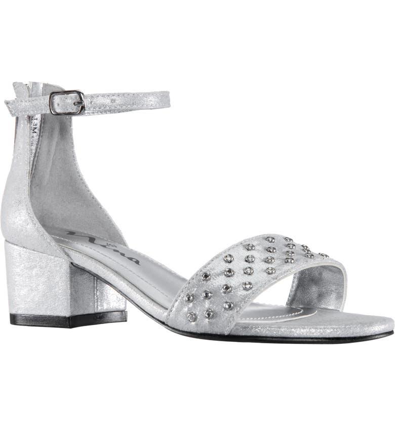 NINA Magdalena Ankle Strap Sandal, Main, color, SILVER SHIMMER