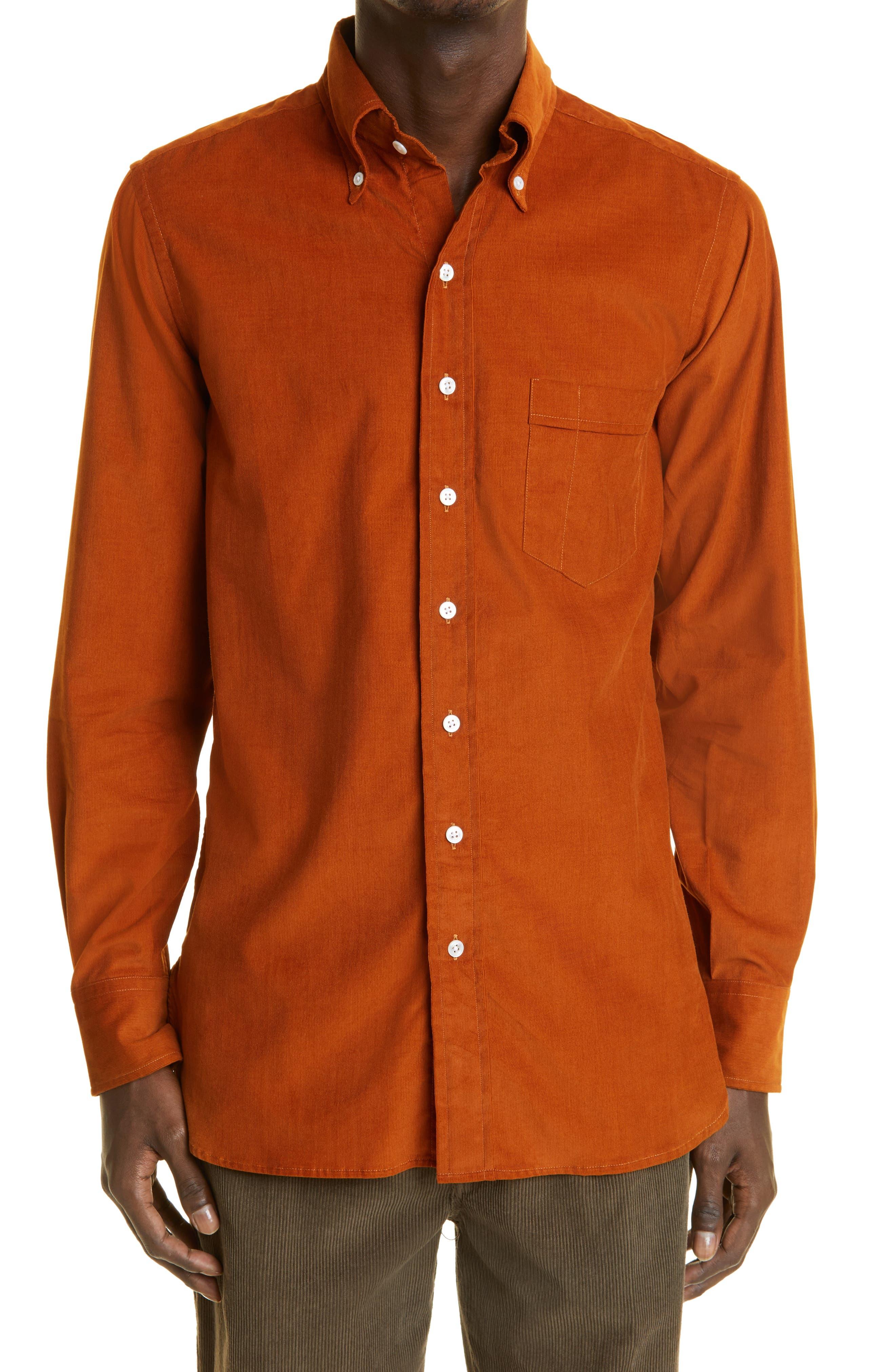 Cotton Corduroy Button-Down Shirt