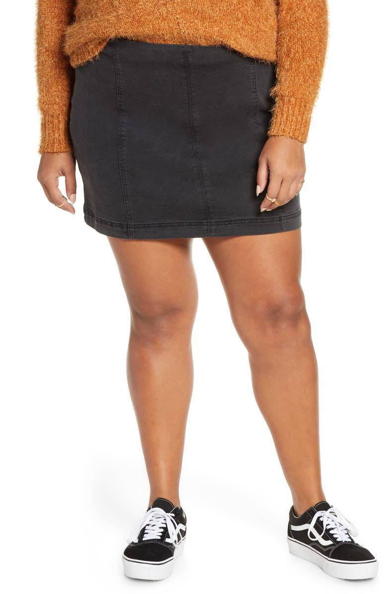BP. Washed Black Denim Miniskirt, Main, color, WASHED BLACK