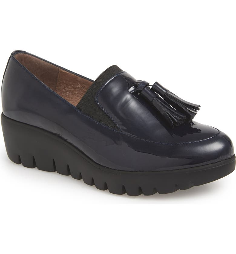 WONDERS Talla Loafer Wedge, Main, color, NAVY PATENT LEATHER
