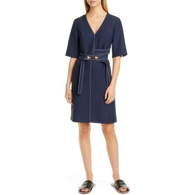 Partow Lance Belted Dress, Blue