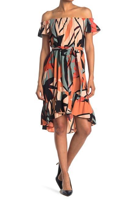 Image of London Times Off-the-Shoulder Geometric Print Flounce Dress