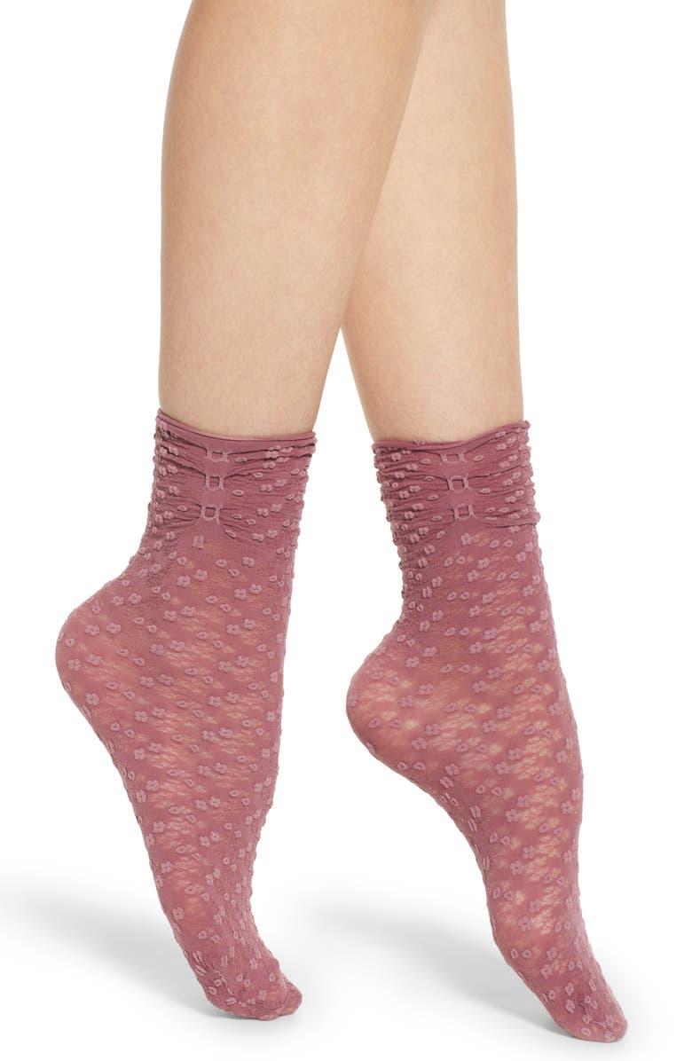 FALKE Rice Basket Rouched Anklet Socks, Main, color, TURNIP