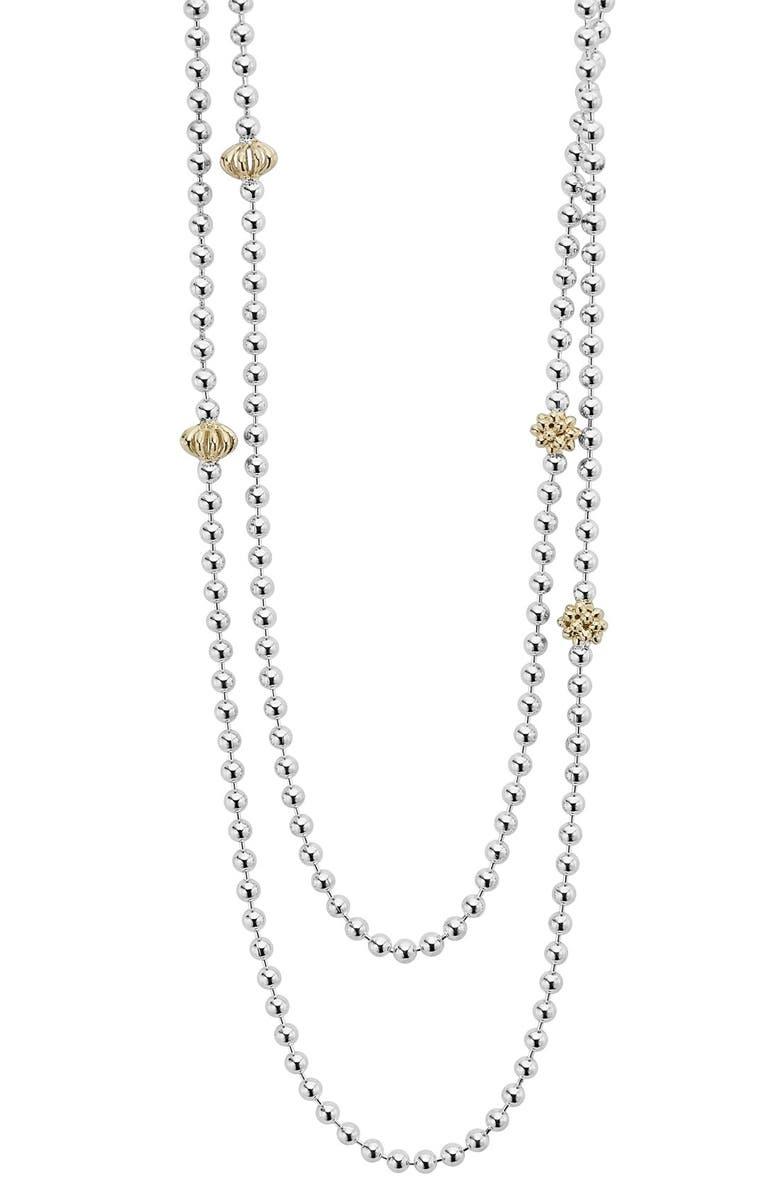 LAGOS 'Caviar Icon' Strand Necklace, Main, color, SILVER/ GOLD