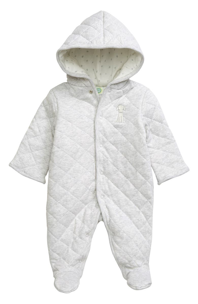 LITTLE ME Quilted One-Piece Hooded Footie, Main, color, GREY