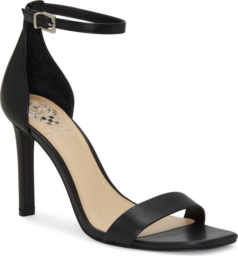 VINCE CAMUTO Lauralie Ankle Strap Sandal, Main, color, BLACK LEATHER