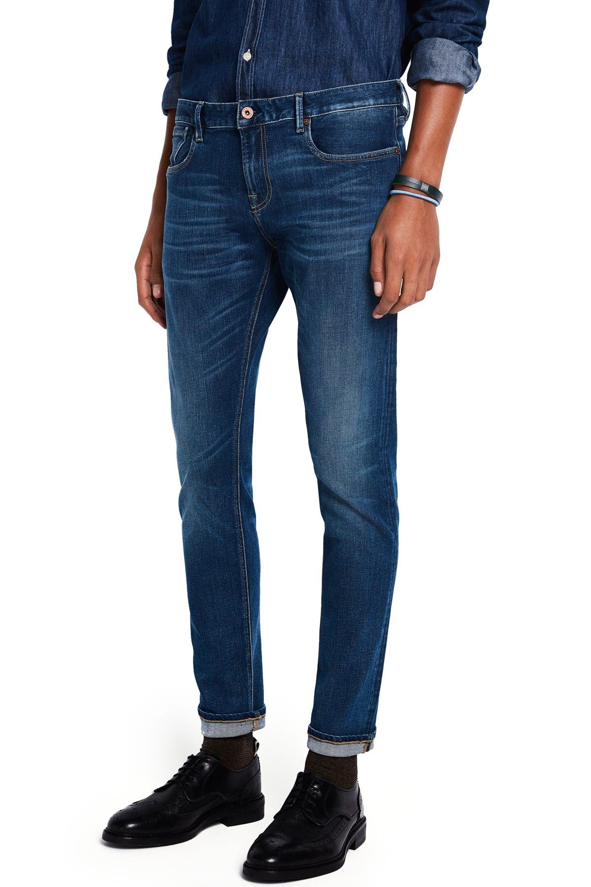 Image of Scotch & Soda Tye Lucky Blauw Dark Slim Tapered Fit Jeans