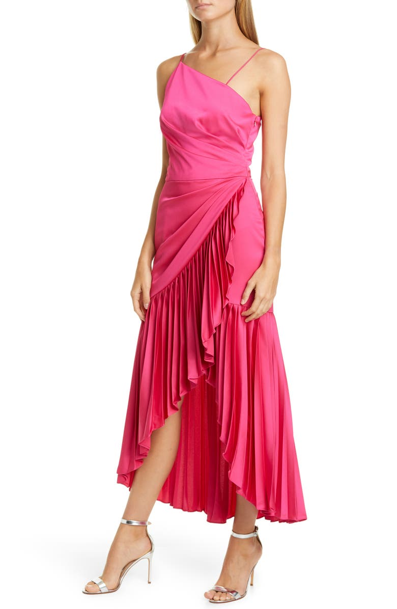 FLOR ET. AL Izamal Asymmetrical High/Low Satin Cocktail Dress, Main, color, HOT PINK