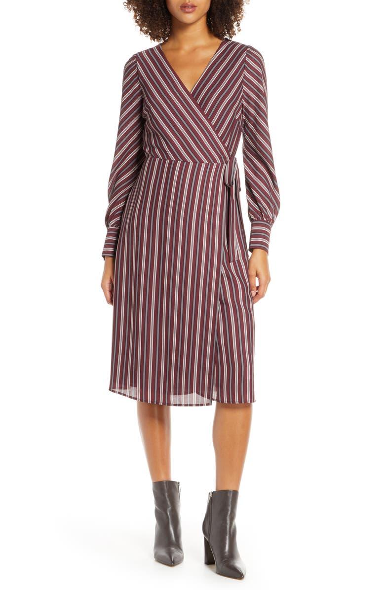 CHELSEA28 Striped Long Sleeve Wrap Midi Dress, Main, color, PLUM STRIPE