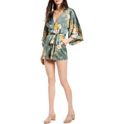 Bishop + Young Bell Sleeve Romper, Blue/green