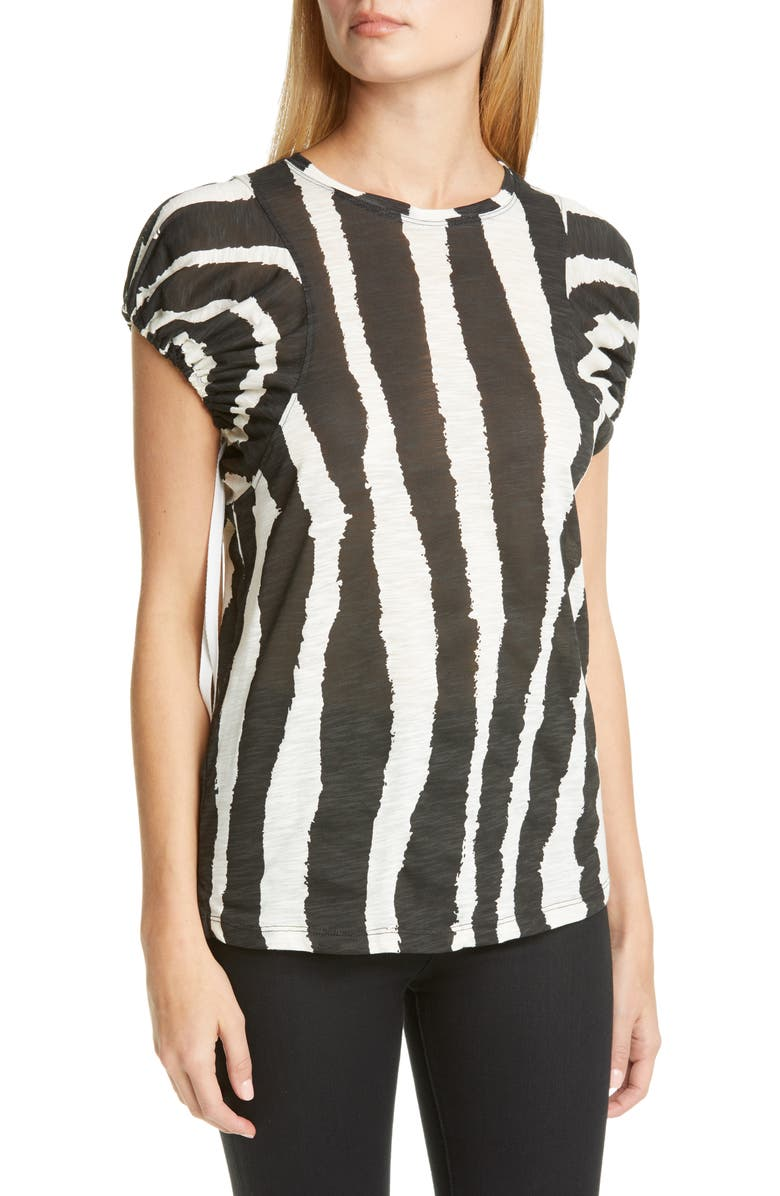 PROENZA SCHOULER Logo Graphic Puff Sleeve Top, Main, color, BLACK/ ECRU ZEBRA STRIPE
