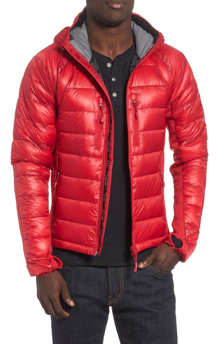 CANADA GOOSE 'Hybridge<sup>™</sup> Lite Hoody' Slim Fit Packable Jacket, Main, color, BLACK / RED