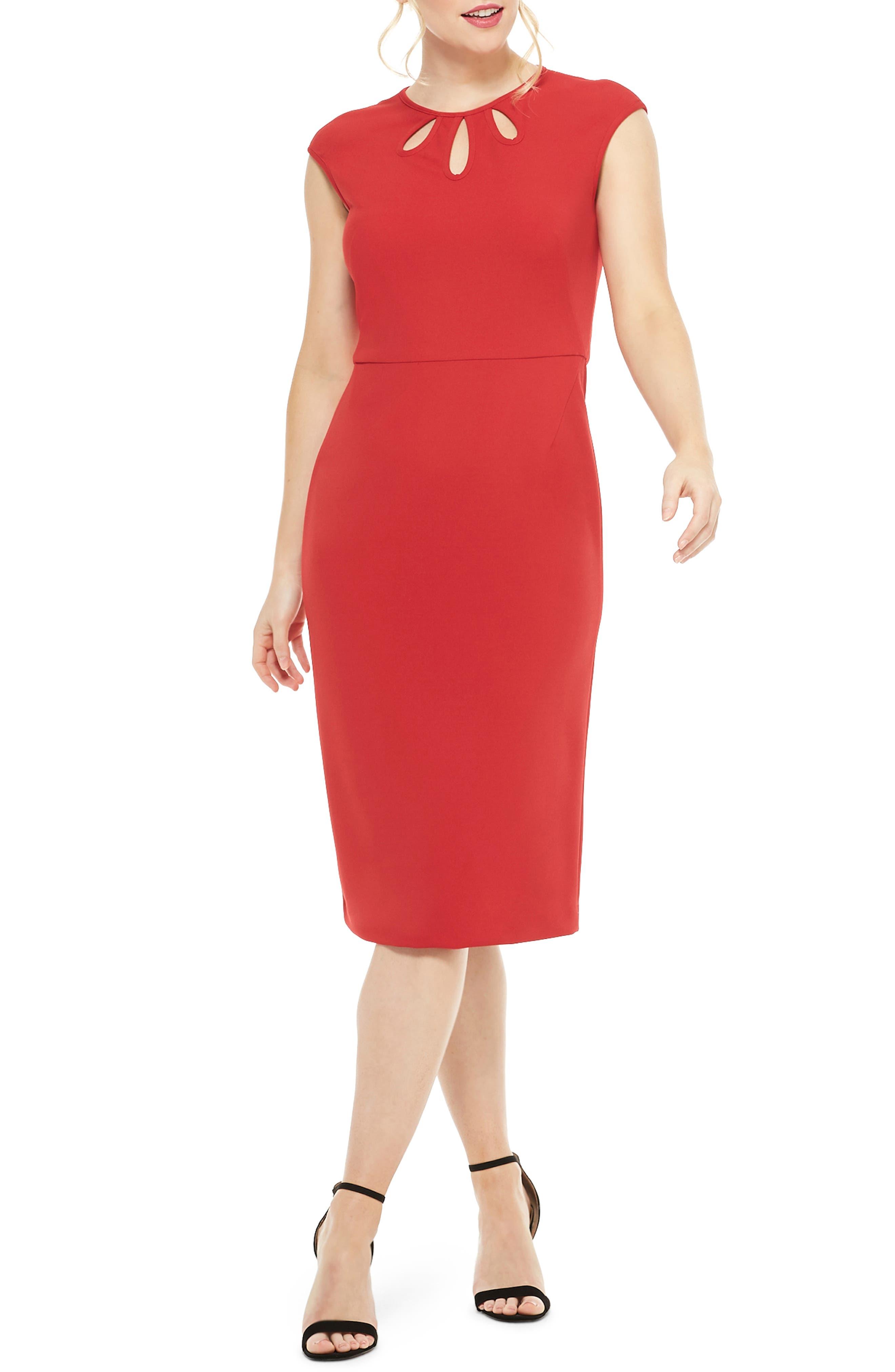 Maggy London Teardrop Jewel Neck Scuba Crepe Dress, Red
