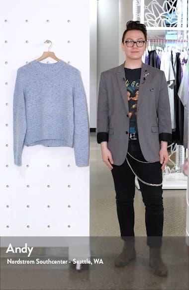 Boxy High Neck Nep Merino Wool Blend Sweater, sales video thumbnail