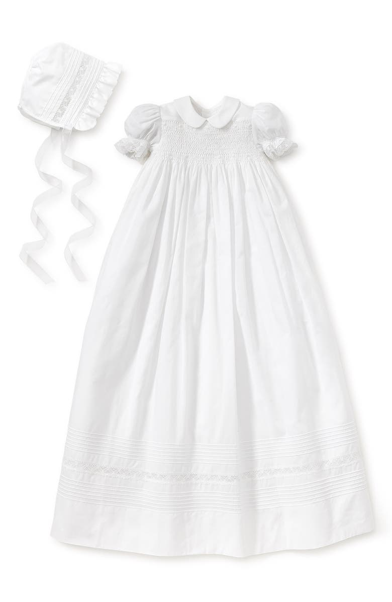 KISSY KISSY Silene Christening Gown & Bonnet Set, Main, color, WHITE