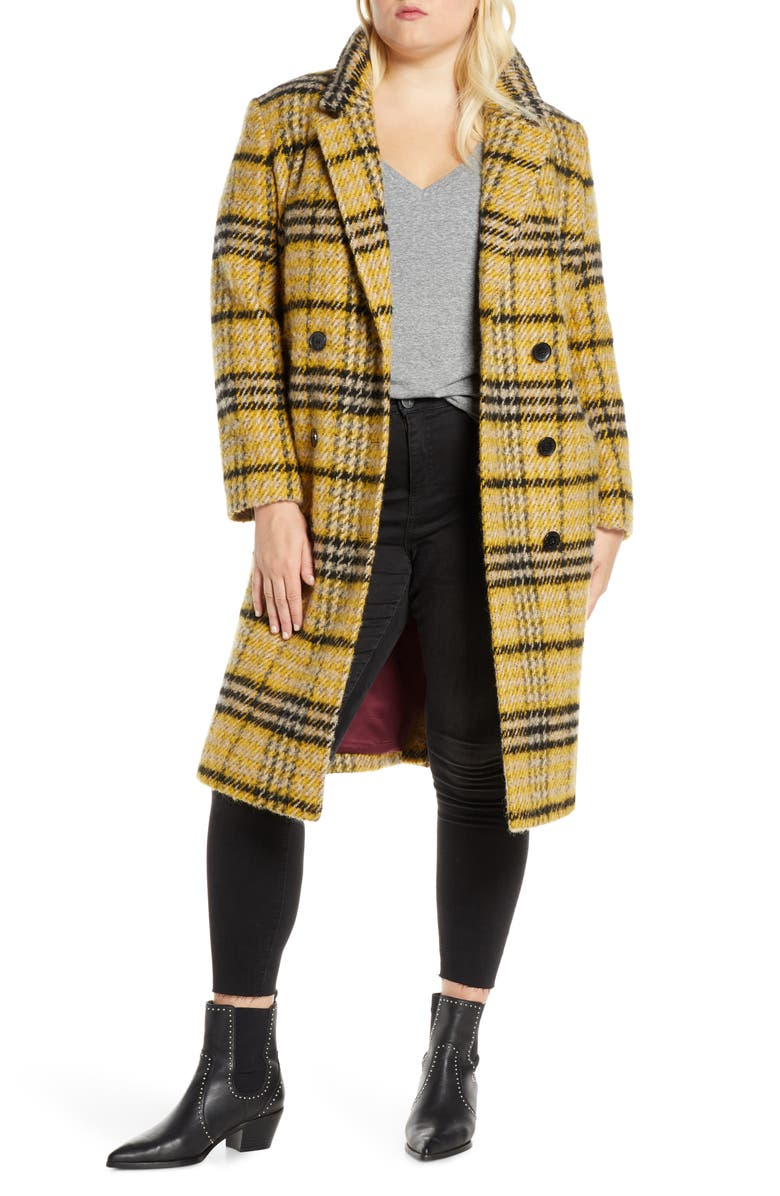 SAM EDELMAN Plaid Double Breasted Wool Blend Coat, Main, color, 700