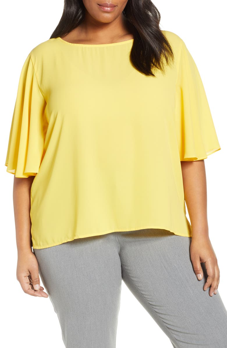 ELOQUII 9 to 5 Double Layer Georgette Top, Main, color, 700