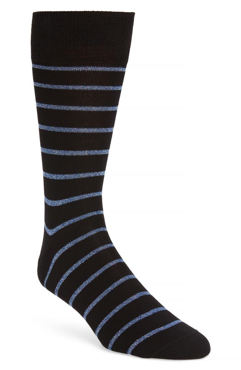 PAUL SMITH Ben Metallic Stripe Socks, Main, color, BLACK
