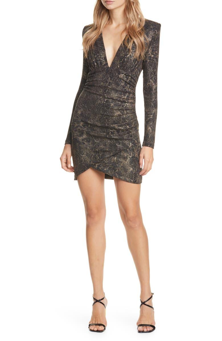 ALICE + OLIVIA Diaz Plunge Neck Ruched Long Sleeve Minidress, Main, color, BLACK/ GOLD