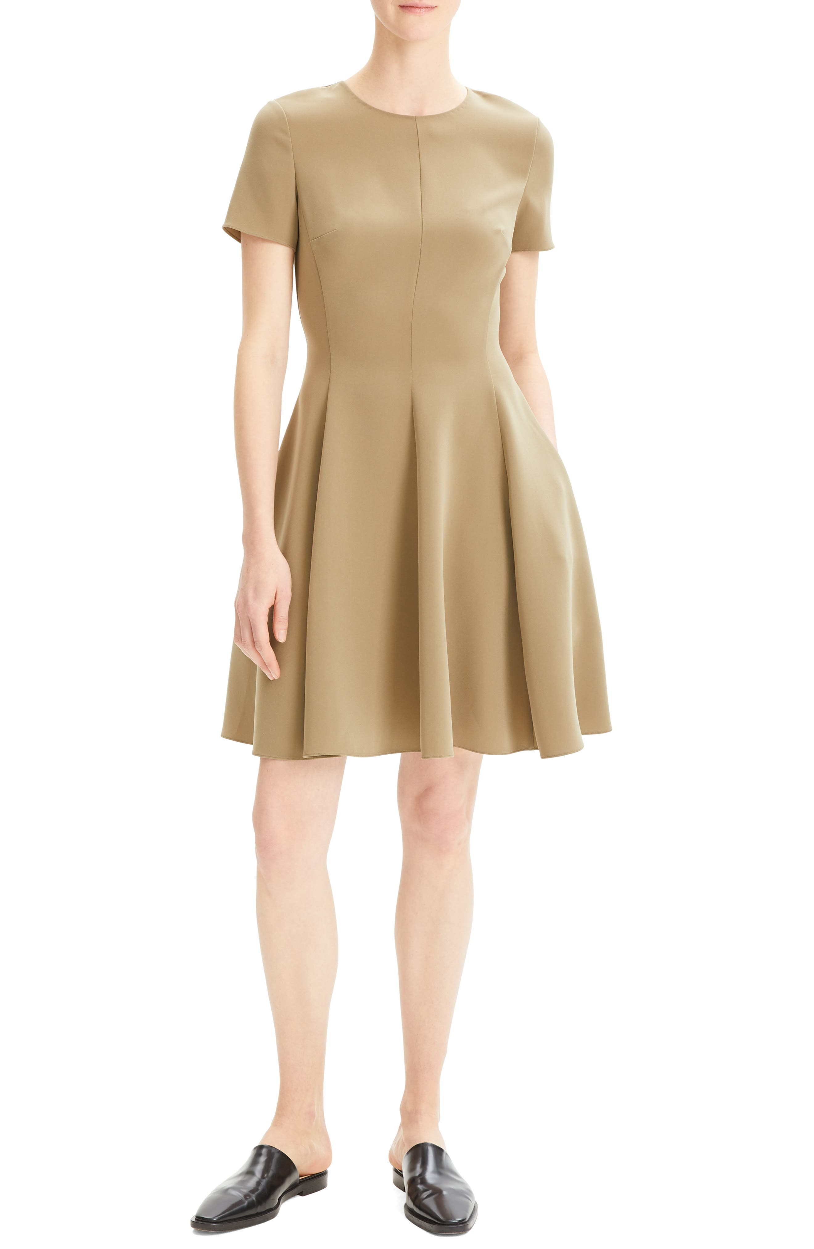 Theory Paneled Fit & Flare Dress, Green