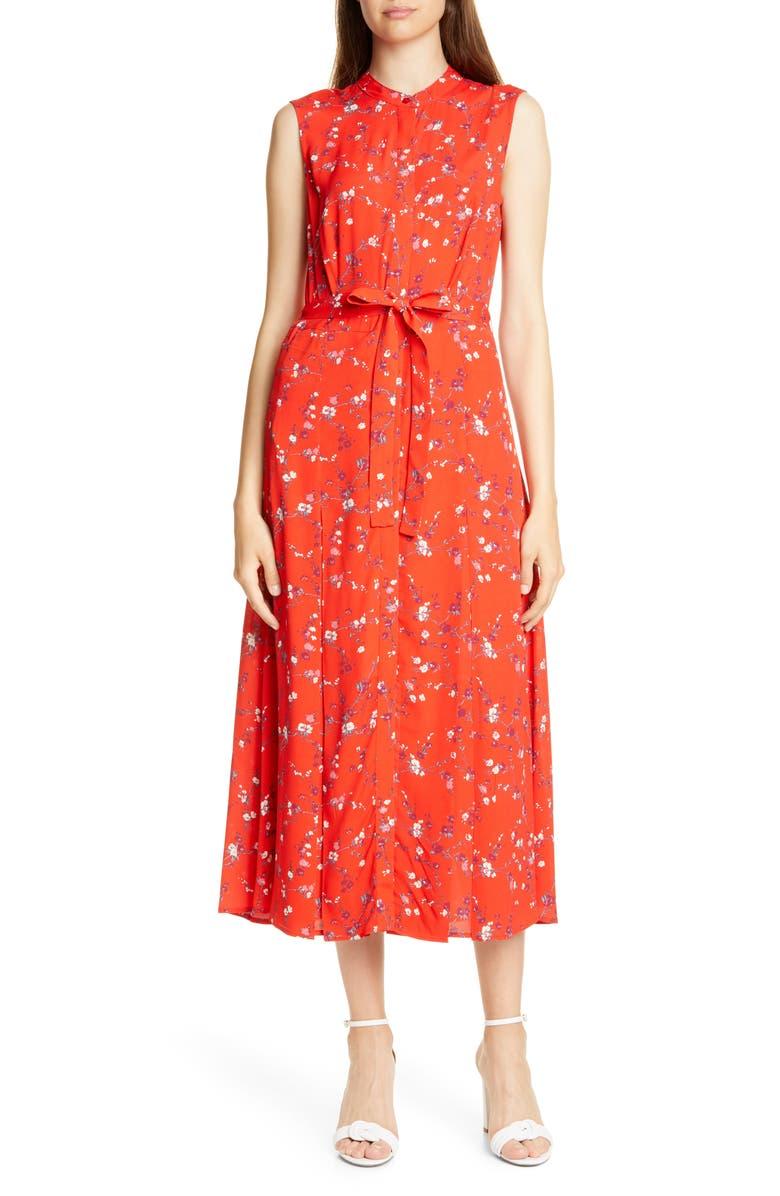 JUDITH & CHARLES Salerno Floral Midi Dress, Main, color, RED FLORAL PRINT