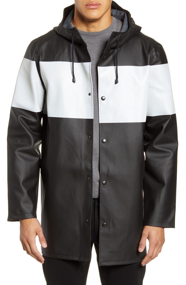 STUTTERHEIM Stockholm Colorblock Waterproof Hooded Raincoat, Main, color, BLACK