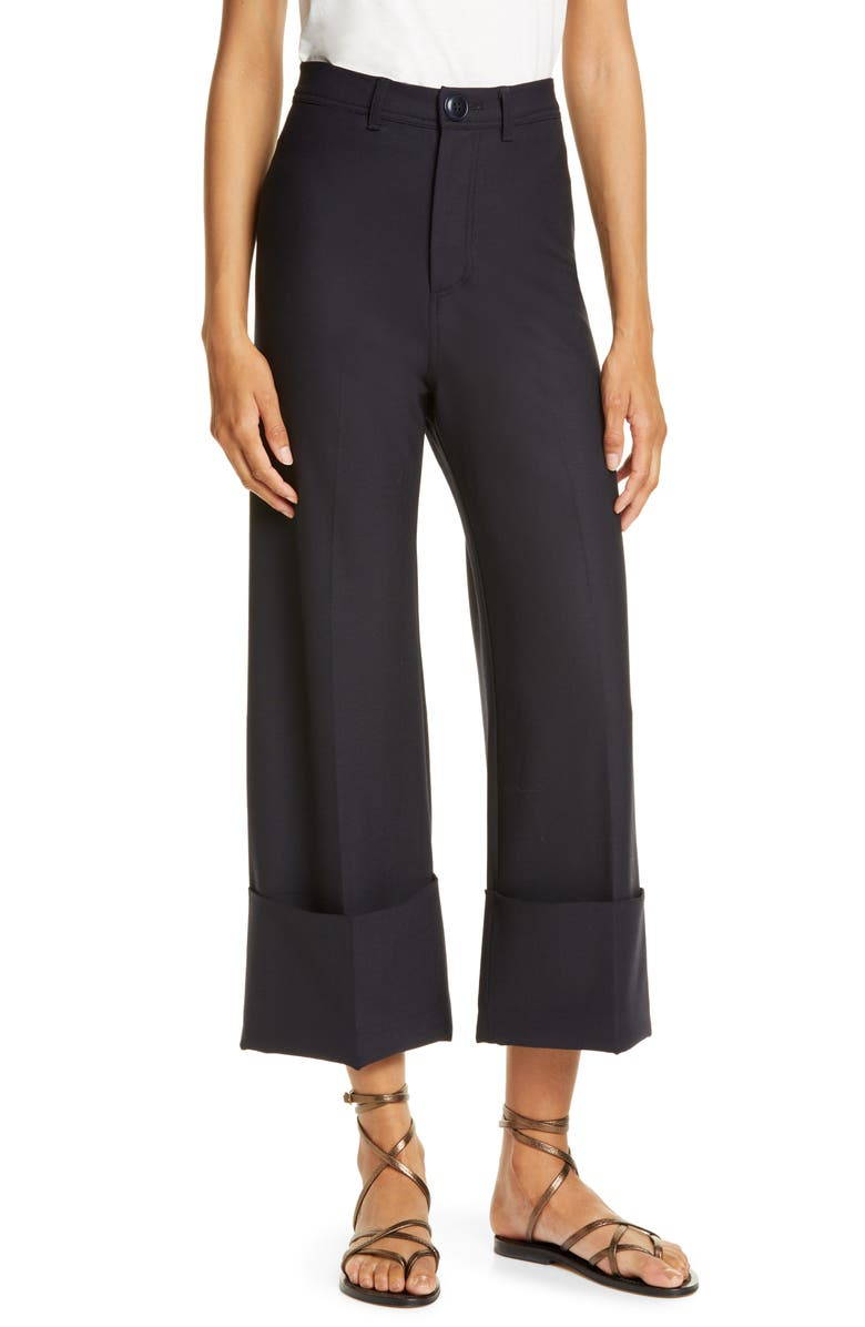SEA Hayes High Waist Cuff Pants, Main, color, NAVY