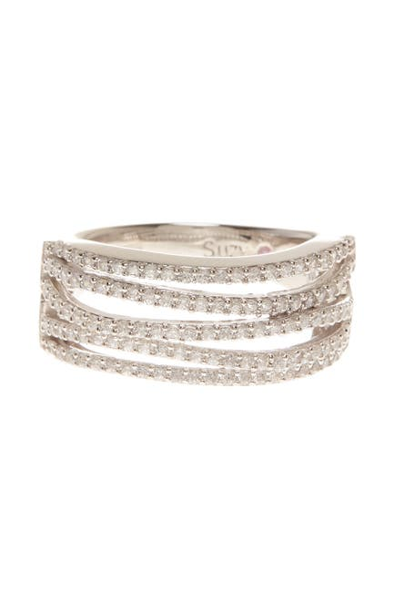 Image of Suzy Levian Sterling Silver CZ Gladiator Ring