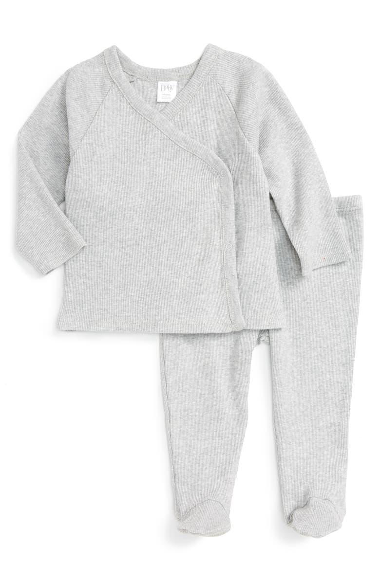 NORDSTROM BABY Rib Knit T-Shirt & Pants Set, Main, color, GREY ASH HEATHER