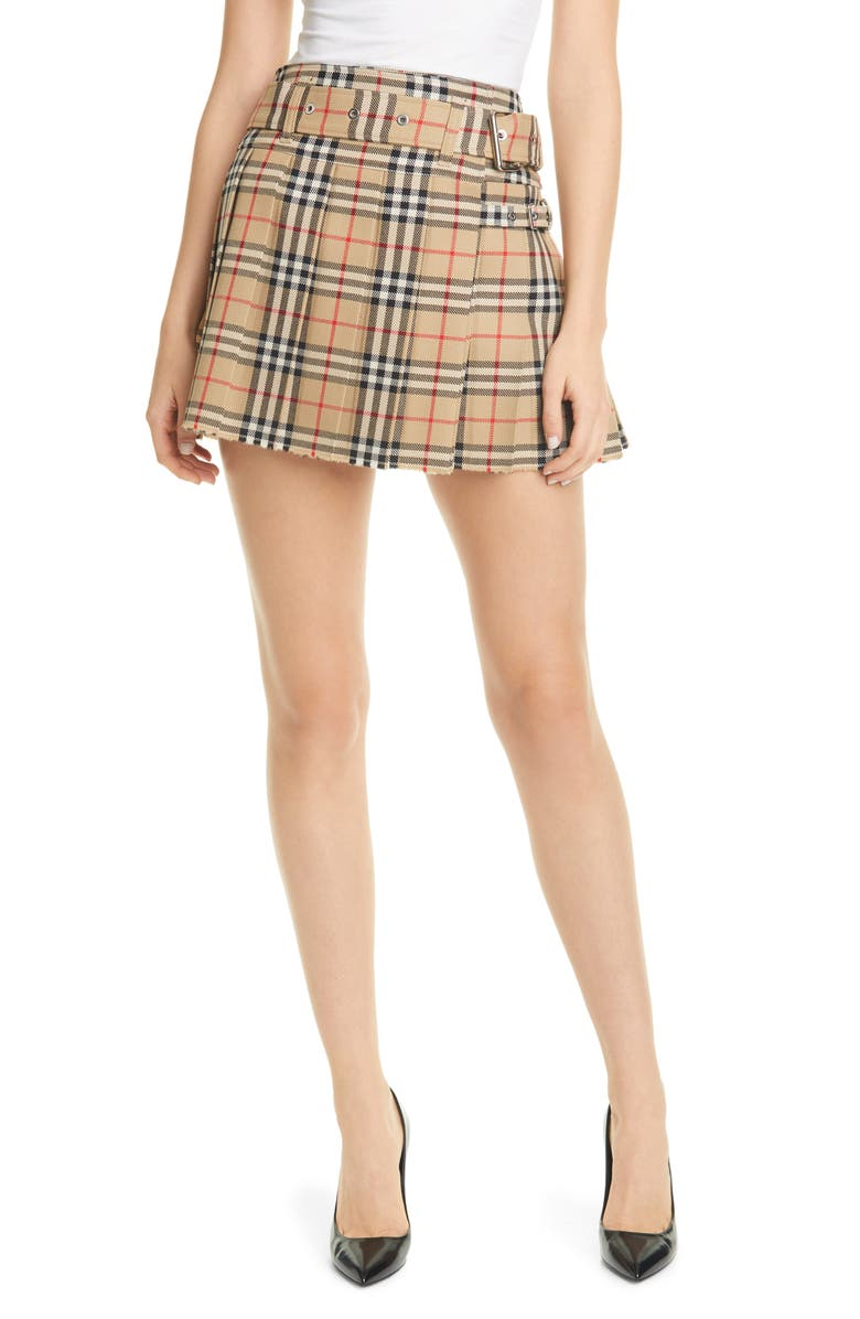 BURBERRY Carmen Vintage Check Pleated Wool Mini Kilt, Main, color, ARCHIVE BEIGE IP CHK