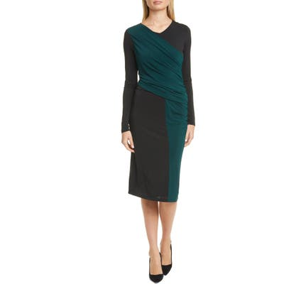 Boss Eretha Colorblock Long Sleeve Jersey Dress, Green