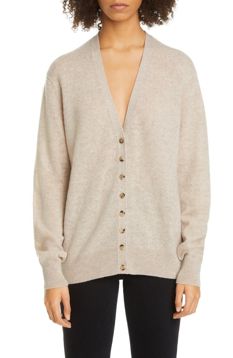 KHAITE Amelia Button Front Cashmere Cardigan, Main, color, POWDER