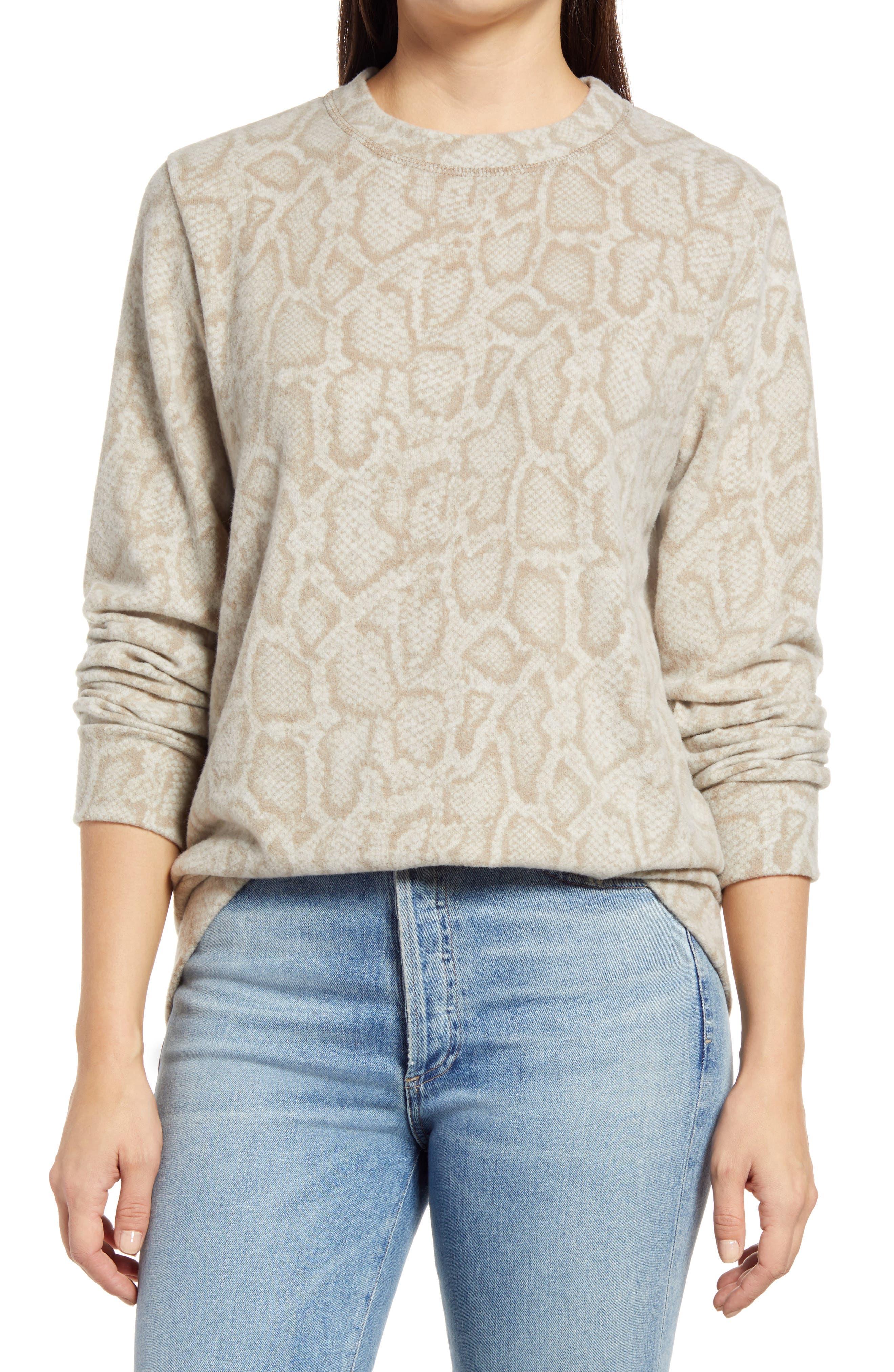 Snake Print Crewneck Sweater