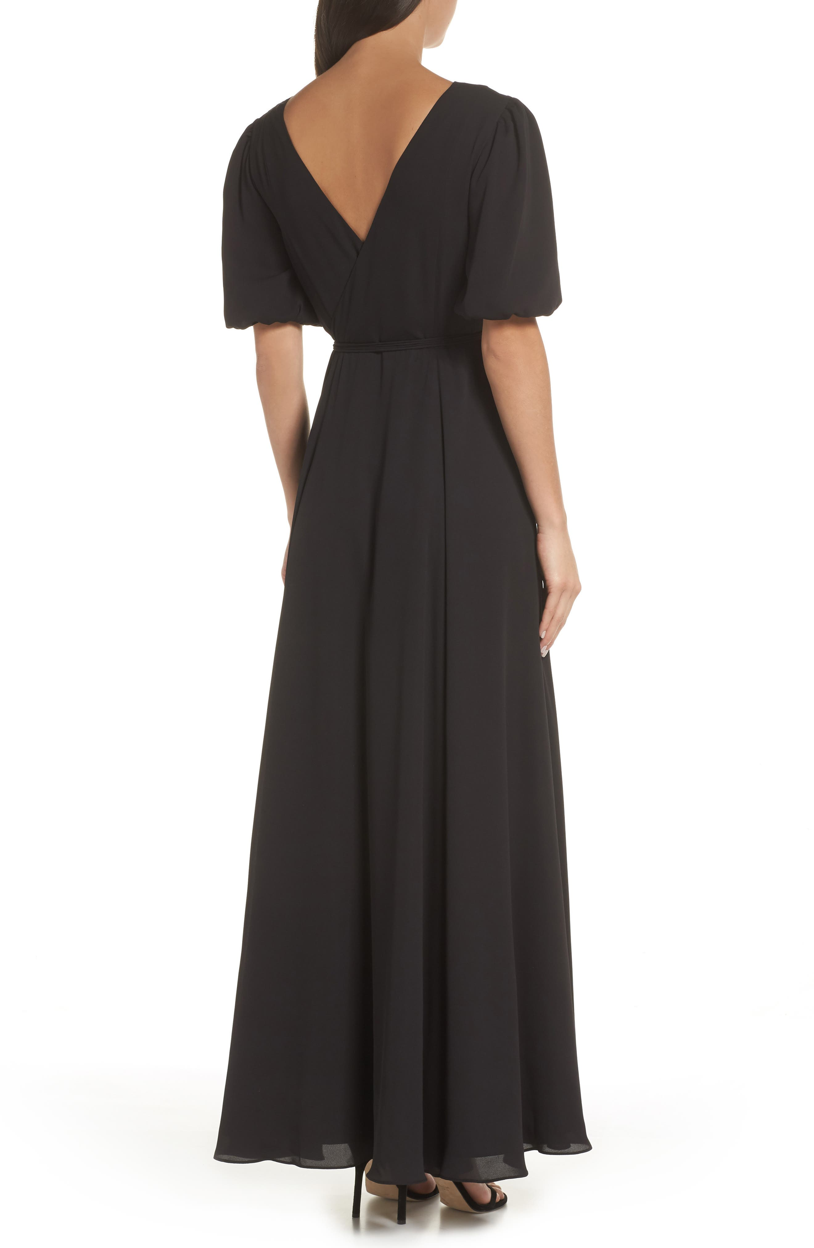 ,                             V-Neck Georgette Wrap Gown,                             Alternate thumbnail 2, color,                             BLACK