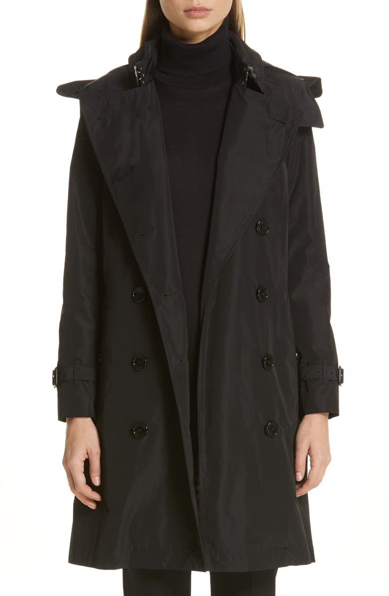 BURBERRY Kensington Trench Coat with Detachable Hood, Main, color, BLACK