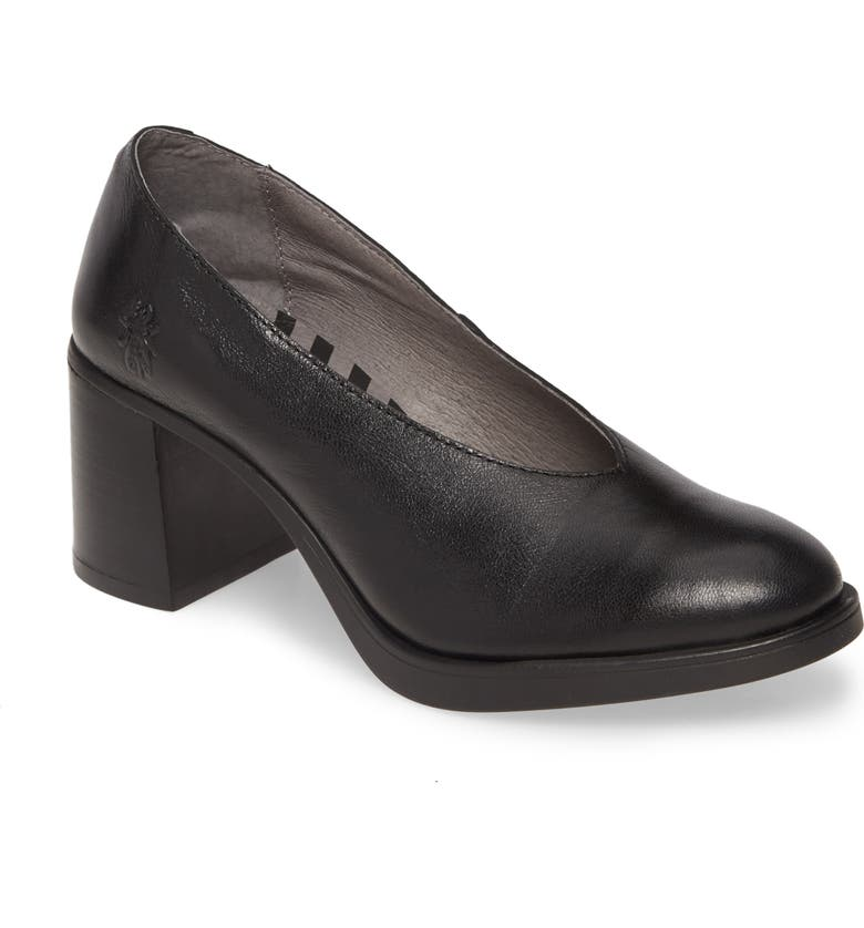 FLY LONDON Saco Pump, Main, color, BLACK LEATHER