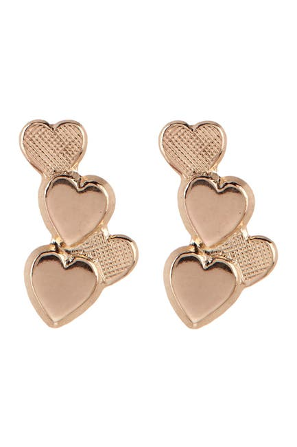 Image of Candela 14K Yellow Gold Four Heart Cluster Stud Earrings