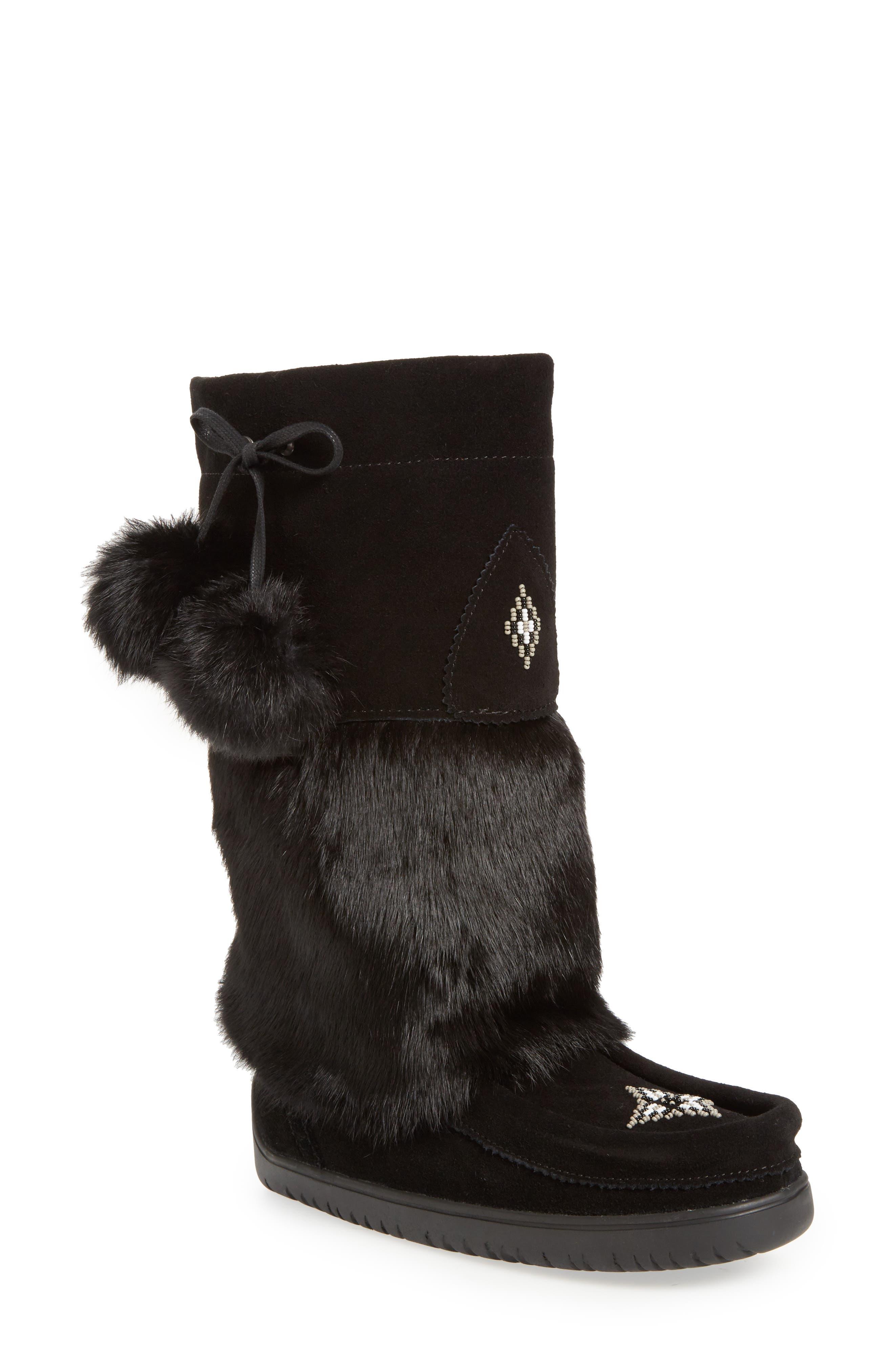 Manitobah Mukluks Snowy Owl Waterproof Genuine Fur Waterproof Boot, Black