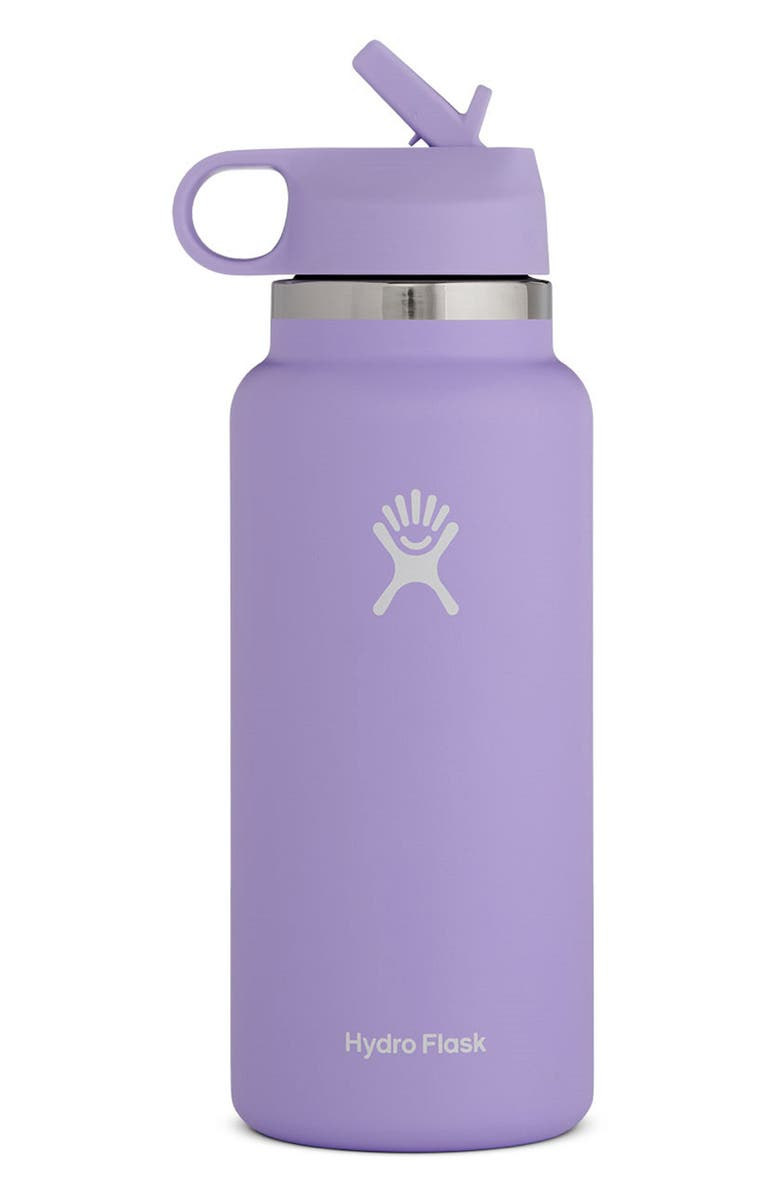 HYDRO FLASK 32-Ounce Wide Mouth Bottle with Straw Lid, Main, color, THISTLE