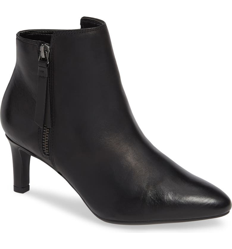 CLARKS<SUP>®</SUP> Calla Blossom Bootie, Main, color, BLACK LEATHER