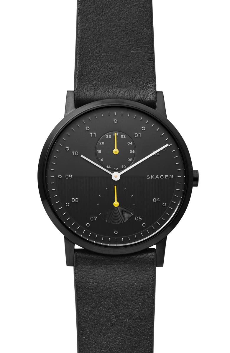 SKAGEN Designs Kristoffer Multifunction Leather Strap Watch, 42mm, Main, color, 001