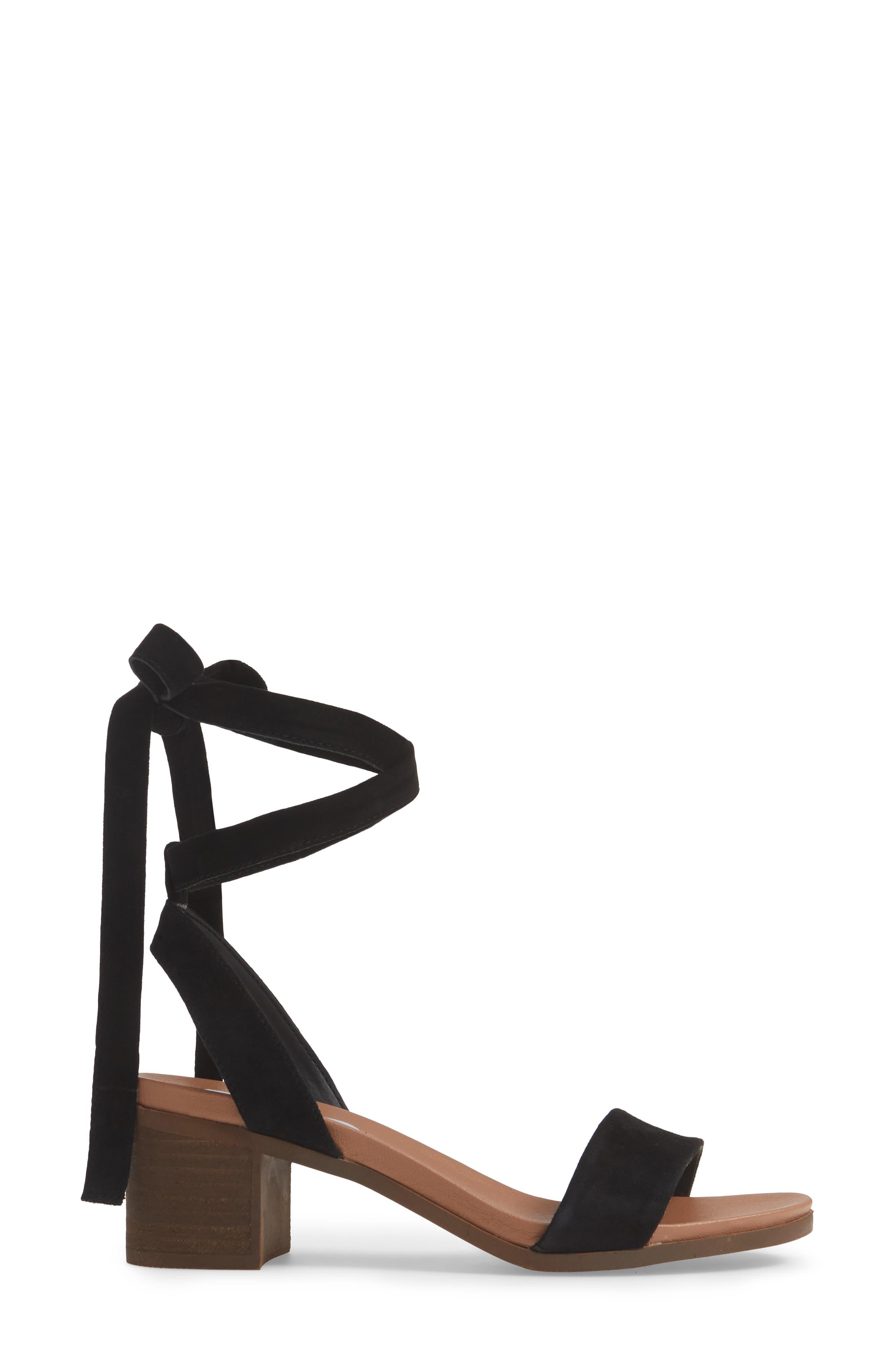,                             Adrianne Ankle Wrap Sandal,                             Alternate thumbnail 3, color,                             BLACK SUEDE